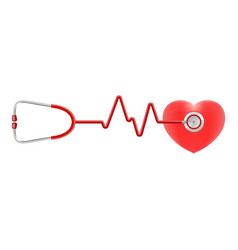 heart and stethoscope isolated on a white vector image vector image