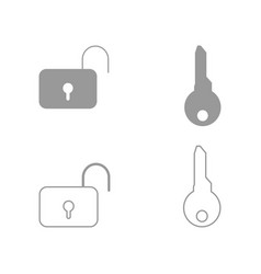 Key and lock set icon vector