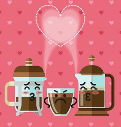 Loving couple of french press coffee maker vector