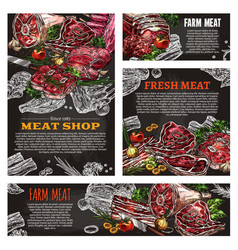 meat product chalkboard banner for butcher shop vector image vector image