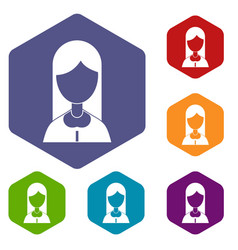 mother icons set hexagon vector image