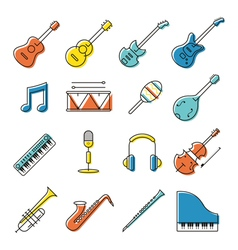 Music Instruments Objects Icons Set Line Design vector image vector image