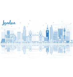 Outline london skyline with blue buildings and vector
