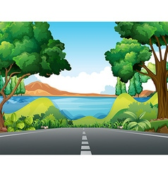 Scene with road to the lake vector image