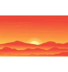 Silhouette of desert on orange backgrounds vector image