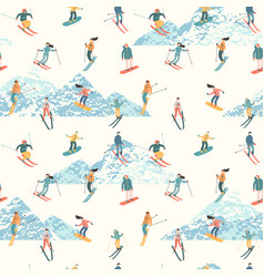 Skiers and snowboarders vector