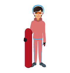 Snowboarder girl winter clothes with goggles and vector