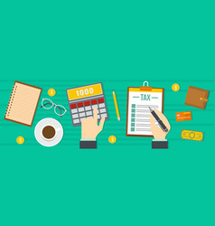 tax calculator banner flat style vector image vector image