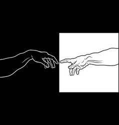 the creation of adam fragment black amp white vector image