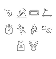thin line running icon set vector image vector image