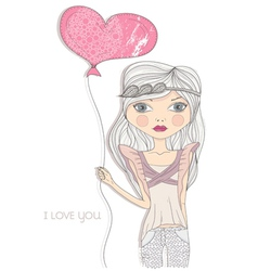 valentines day card fashion girl with heart baloon vector image vector image