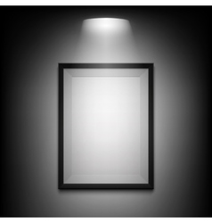 Blank illuminated picture frame on black vector