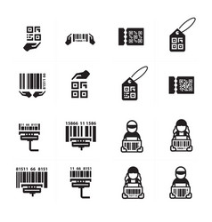 Icon hand and barcode design set vector