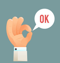 Ok hand sign gesture icon cartoon design template vector
