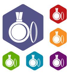 Medallion icons set hexagon vector