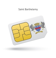 Saint barthelemy mobile phone sim card with flag vector
