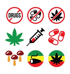 Drugs addiction marijuana syringe colorful icon vector