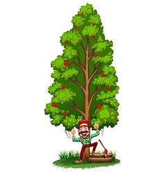 A happy woodman under the tree vector image
