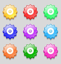 Cd or dvd icon sign symbol on nine wavy colourful vector