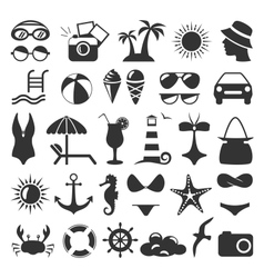 Summer flat icons set isolated on white vector