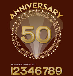 50th anniversary celebration in elegant golden vector