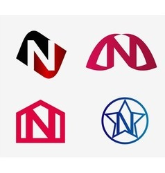Letter n logo icon design template elements set vector