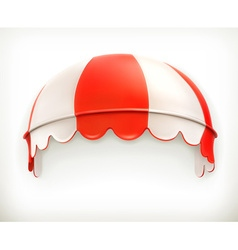 Red an white striped awning excellent canopy vector