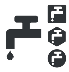Water tap icon set monochrome vector