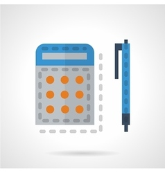 Calculator and pen color icon vector
