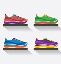 Side view of running shoes on shelf vector