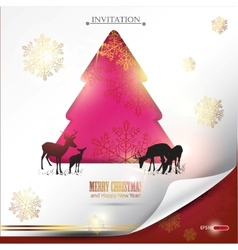Elegant winter background with christmas tree and  vector