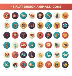 Flat design wild and domestic animals icons set vector image