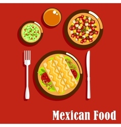Mexican cuisine with enchiladas and sauces vector