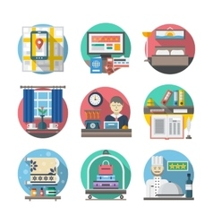 Hotel and travel flat color icons vector