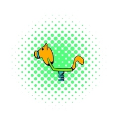 Yellow spring see saw icon comics style vector