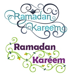 Ramadan kareem icon set on english vector