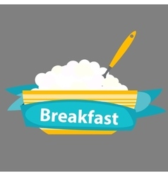 Breakfast cereal oatmeal icon in modern flat vector
