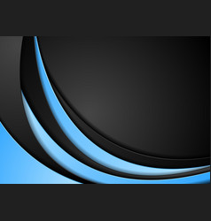 Abstract contrast blue black wavy background vector