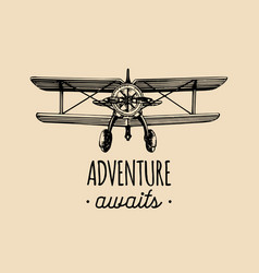 adventure awaits motivational quote vintage retro vector image