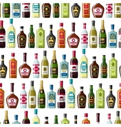 Alcohol drinks seamless pattern Bottles for vector image vector image