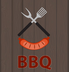 Bbq icon with grill tools and sausage on wooden vector