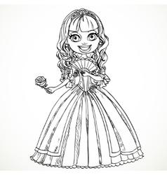 Beautiful princess in a dress with a rose in her vector image