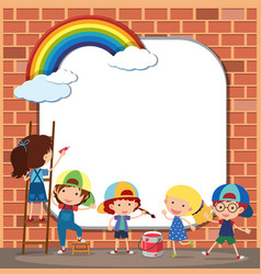 Border template with kids drawing on brickwall vector