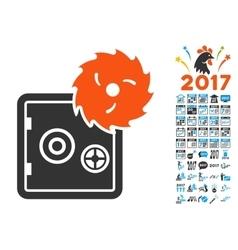 Break banking safe icon with 2017 year bonus vector