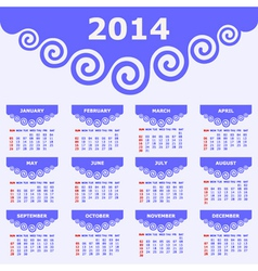 Calendar of 2014 with spiral design vector image