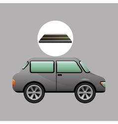 Car vehicule gray on road vector