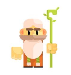 Cartoon bearded gnome with a staff in his hands vector