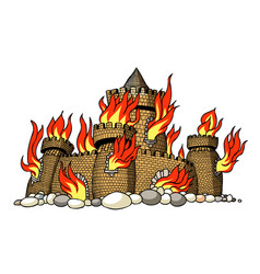 Cartoon image of burning castle vector