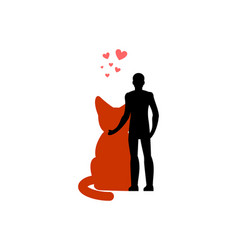 cat lover hug my kitty lovers embrace pet and guy vector image