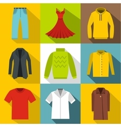 Clothing for body icons set flat style vector